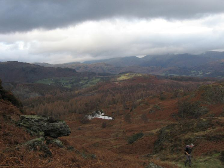 Ascending from the reservoir to Holme Fell's summit
