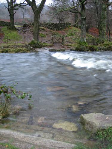 Stepping stones across the River Esk by the church, but not today!