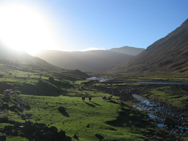 Looking up Langstrath into the sun