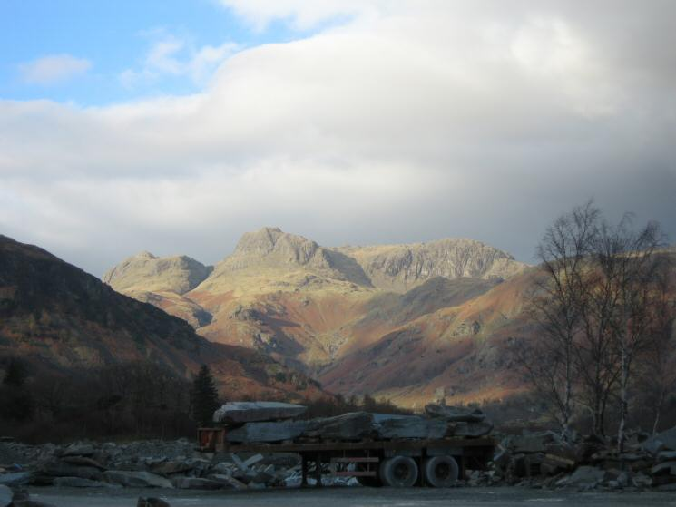 The Langdale Pikes from Elterwater quarry