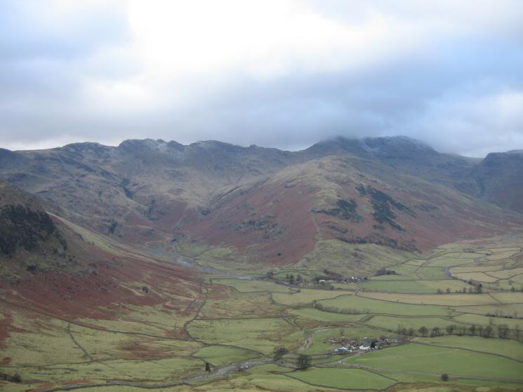The Band leading onto Bowfell with Oxendale on the left and Mickleden on the right