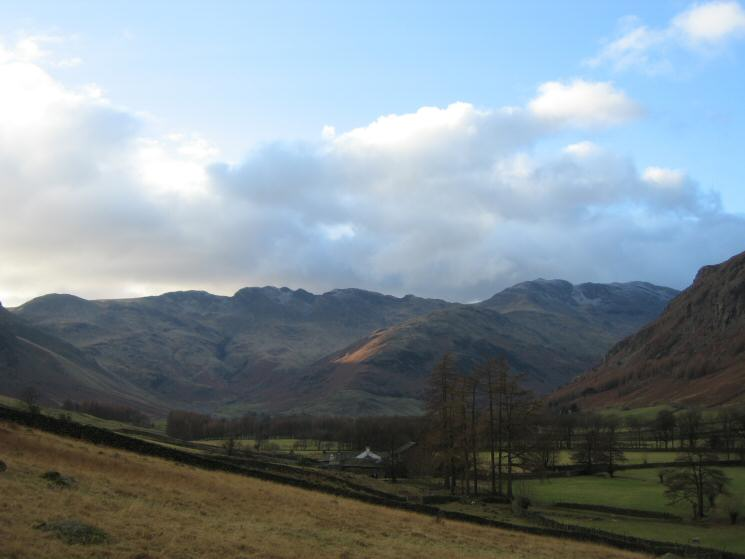 Looking up Great Langdale to Crinkle Crags and Bowfell