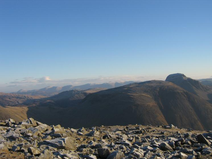 The Helvellyn ridge, Kirk Fell and Great Gable from Red Pike