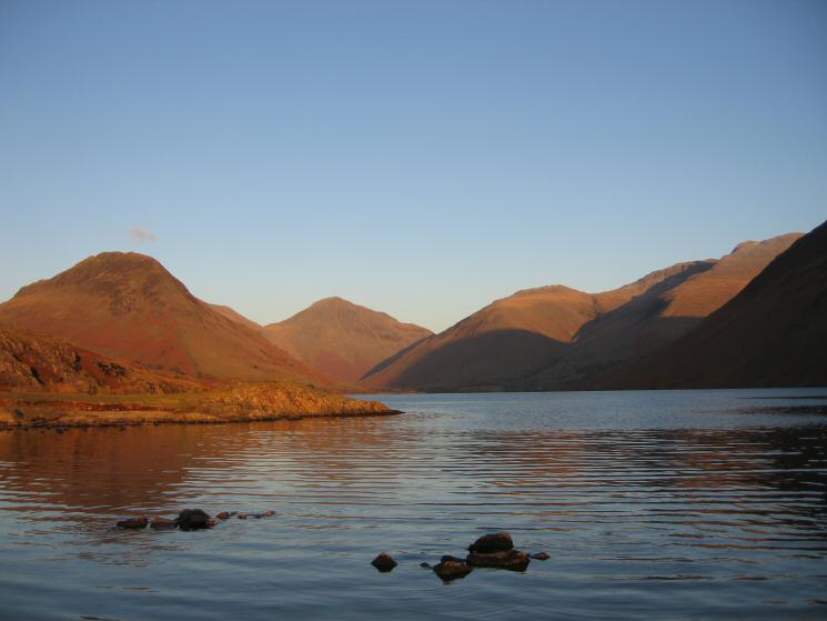 Classic Wasdale lit by the setting sun