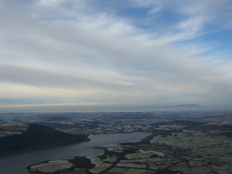 The north end of Bassenthwaite Lake with Criffel in Scotland in the distance