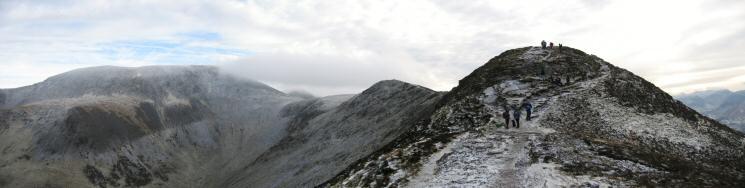 Skiddaw, Skiddaw Little Man in cloud, Carl Side, Long Side and Ullock Pike