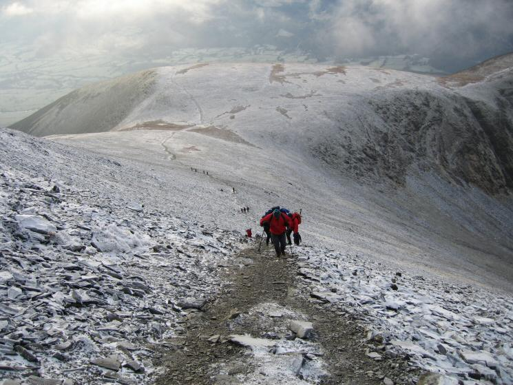 Looking back down on Carl Side from the steep path up Skiddaw
