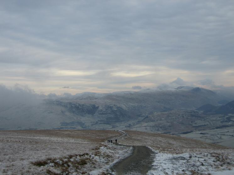 The Helvellyn ridge from the main path off Jenkin Hill back to Latrigg car park