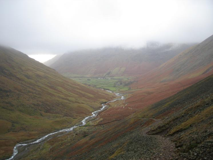Wasdale Head and Lingmell Beck from the Sty Head path