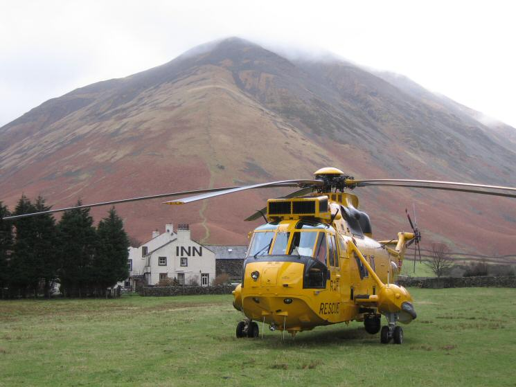 RAF Rescue helicopter at Wasdale Head