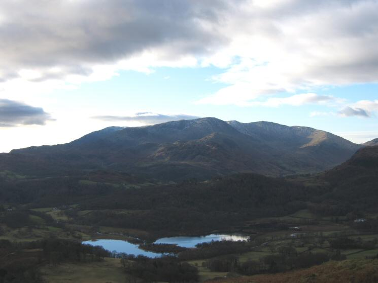 The Coniston Fells and Elter Water from Loughrigg Fell's summit