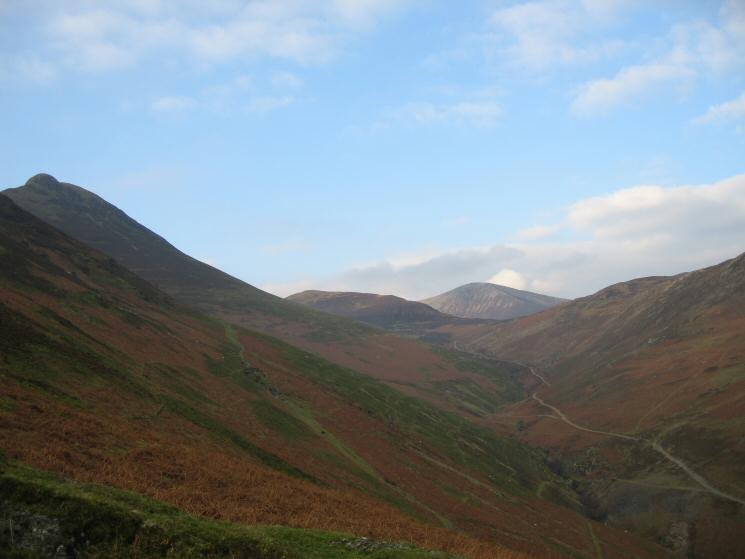 Looking up Stonycroft Gill with Causey Pike on the far left, Outerside and Grisedale Pike in the distance