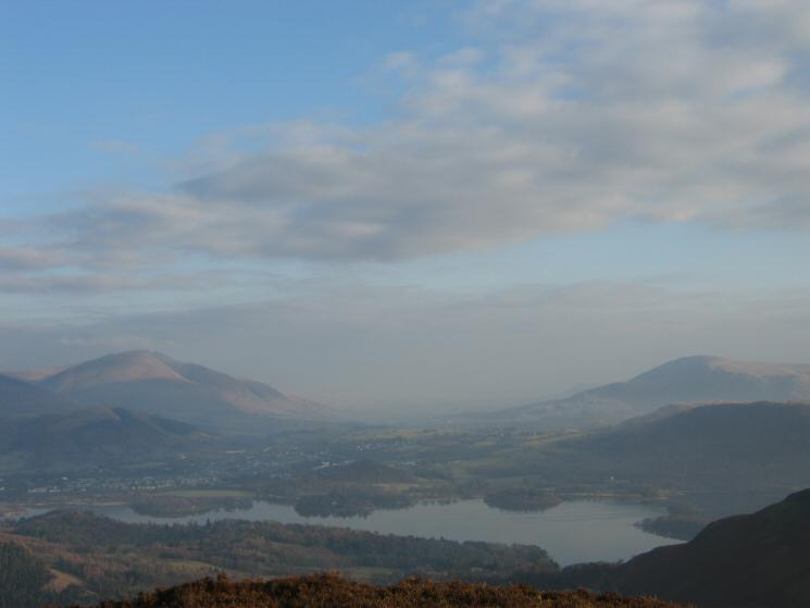 Looking over Derwent Water to Blencathra (left) and Clough Head (right)