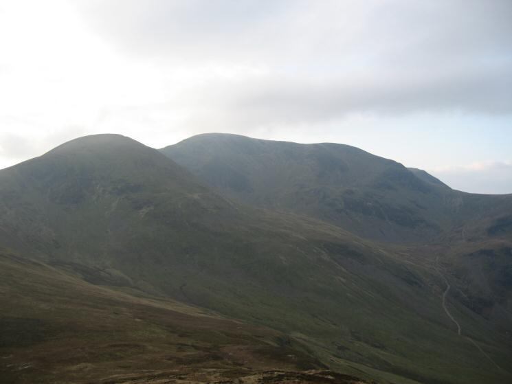 Sail and Crag Hill (Eel Crag) from Outerside with Coledale Hause on the right