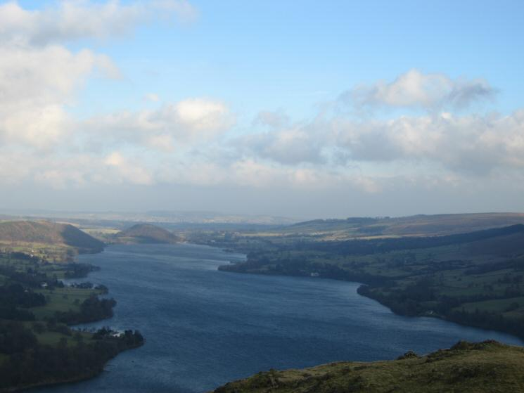 Looking north up Ullswater to the wooded Dunmallet