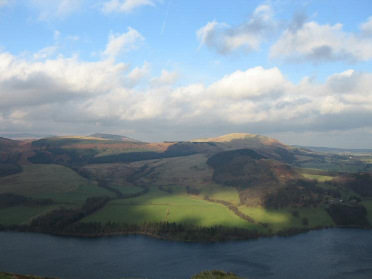 Little Mell Fell (right of centre) catches some sunshine