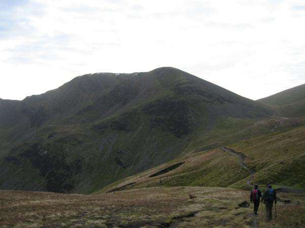 Heading for Coledale Hause with Eel Crag dominating the view