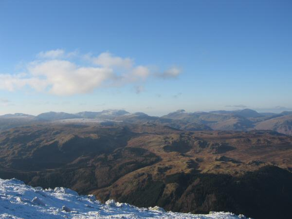The view west - Bowfell, Scafell Pike, Great End, Great Gable and Pillar on the skyline