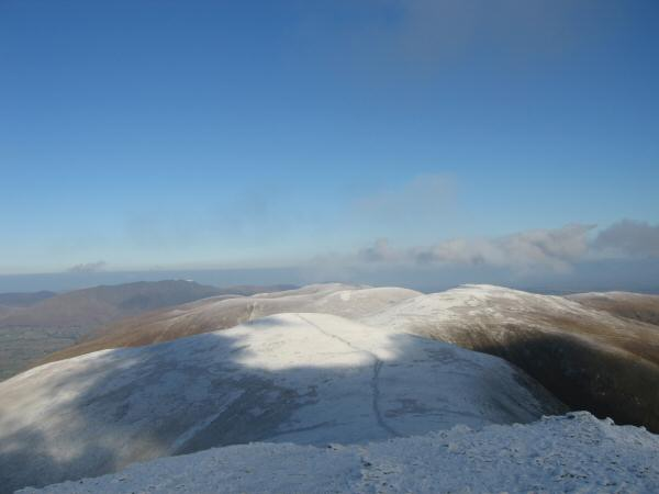 White Side, Raise and the Dodds to the north from Helvellyn Lower Man's summit