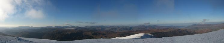 Westernly panorama from Helvellyn Lower Man's summit