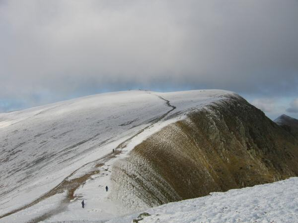 Looking back to Helvellyn from the route up Nethermost Pike