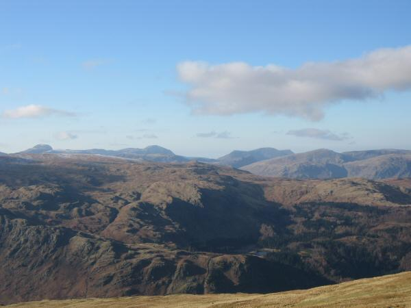 Great Gable, Pillar and the High Stile ridge on the skyline. Harrop Tarn just visible (bottom, right of centre)