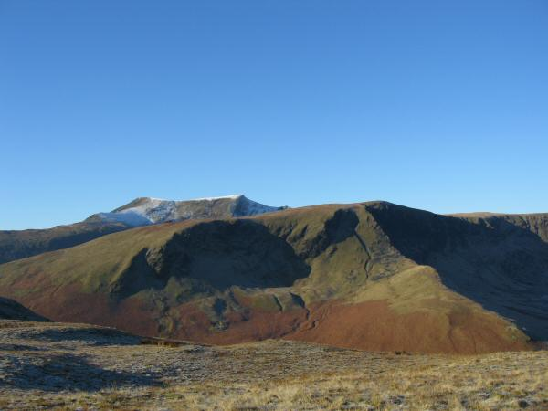 Bannerdale Crags with Blencathra behind from Souther Fell's summit