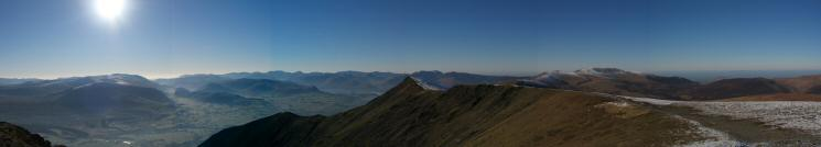 180 Westerly panorama from Blencathra's summit