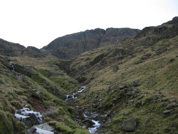 Looking up Ruddy Gill to the cliffs of Great End