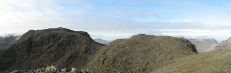 Scafell Pike and Broad Crag from Ill Crag's summit