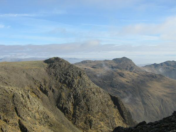 Ill Crag and Bowfell from the ascent of Scafell Pike