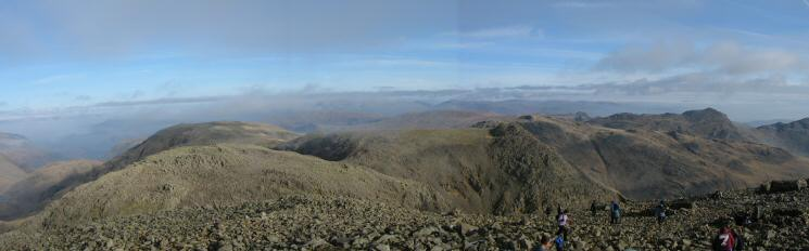 North Easterly panorma from Scafell Pike's summit