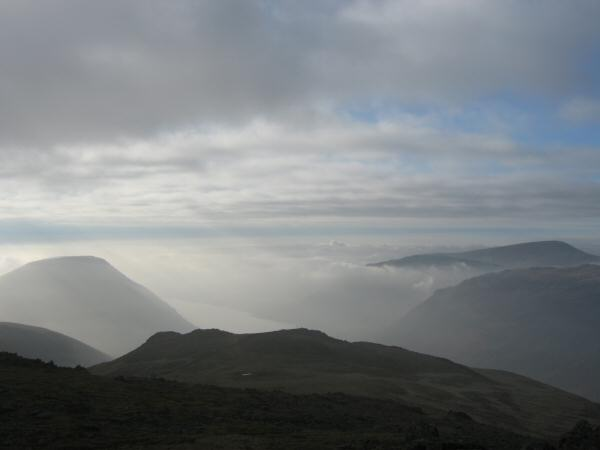 Wasdale from Lingmell's summit with Illgill Head on the left and Seatallan on the right
