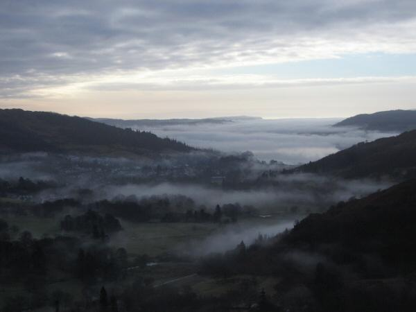 Cloud covering Ambleside and Windermere