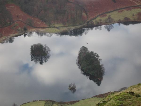 Looking down on Rydal Water's islands from our ascent of Nab Scar