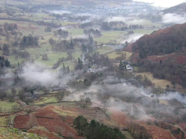Looking back down on Rydal from high up on Nab Scar