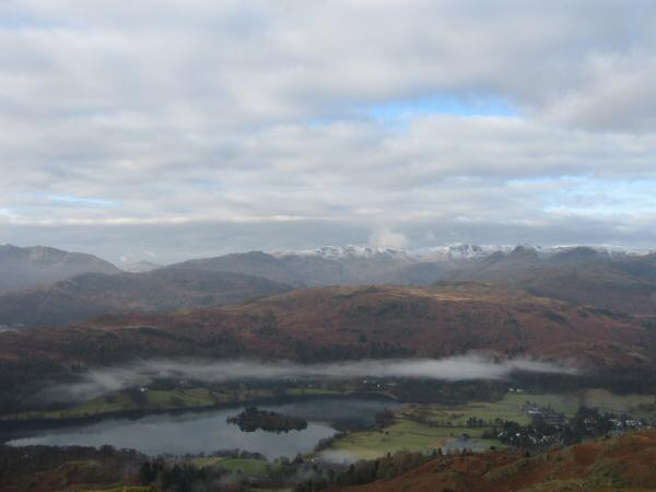 Looking over Grasmere to the Langdale fells from Nab Scar's summit