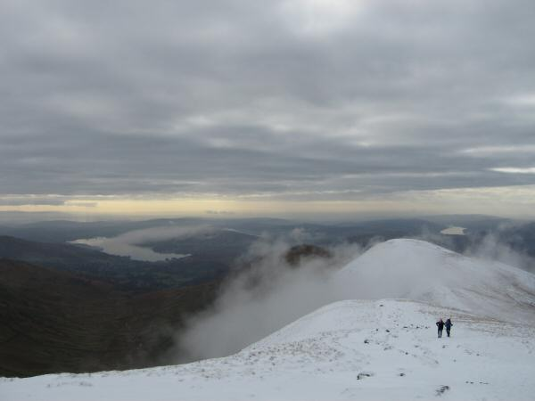 Looking back to Great Rigg from our route up Fairfield with Windermere on the left and Coniston Water on the right