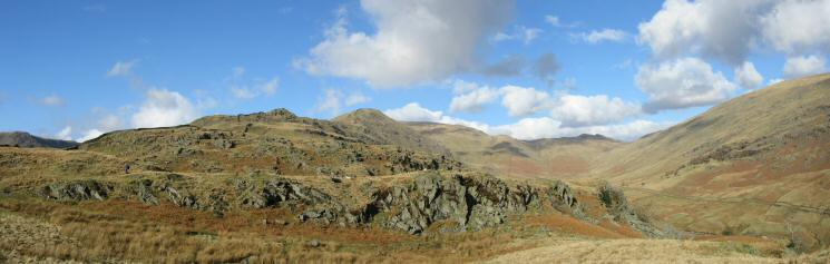 The view back to Low Pike and High Pike with Scandale on the right with Little Hart Crag at its head