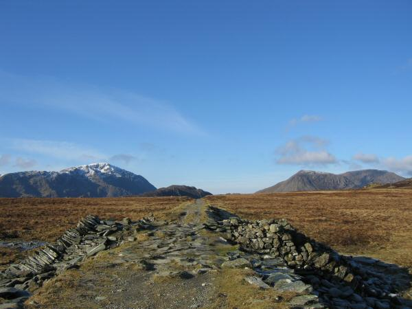Pillar on the left and High Crag and High Stile on the right from the Drum House