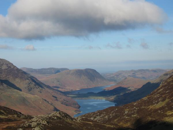 Zooming in on Buttermere, Crummock Water and Mellbreak