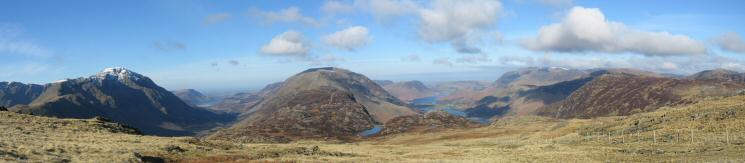 Westerly panorama from Moses' Trod. Pillar, Ennerdale, High Stile ridge, Buttermere and the Grasmoor fells