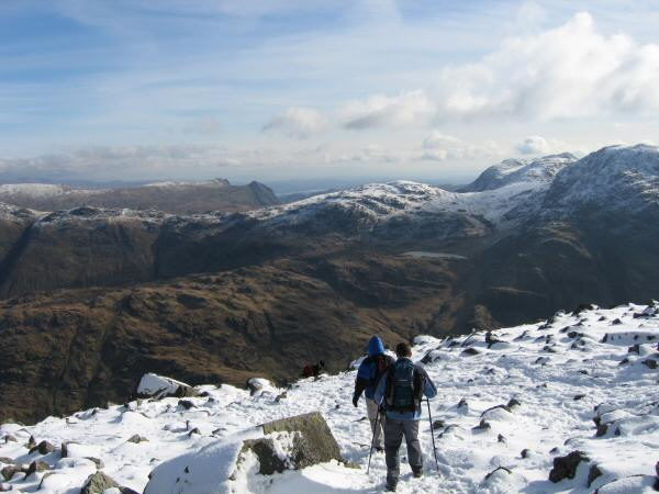 Leaving Great Gable's summit for Windy Gap, Allen Crags ahead