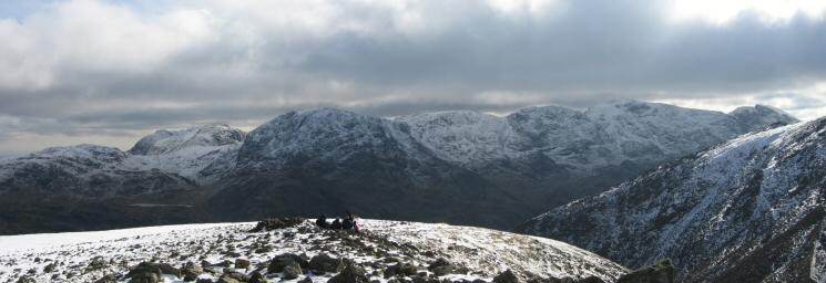 Allen Crags, Bowfell, Esk Pike, Great End, Ill Crag, Broad Crag, Scafell Pike and Scafell from Green Gable's summit