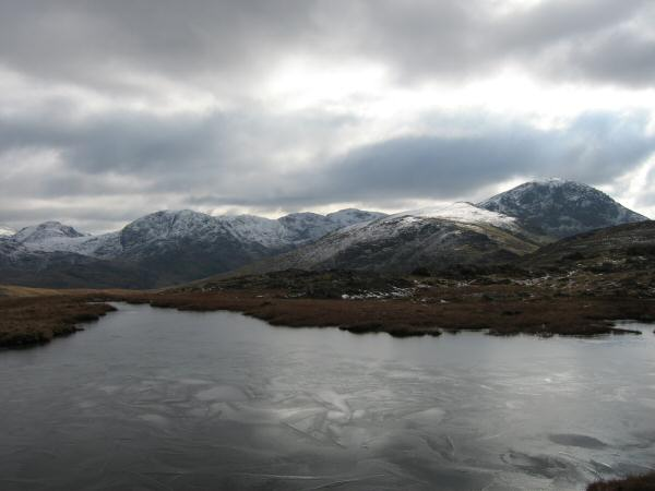 Looking towards Great End and Great Gable from one of the Grey Knotts' tarns