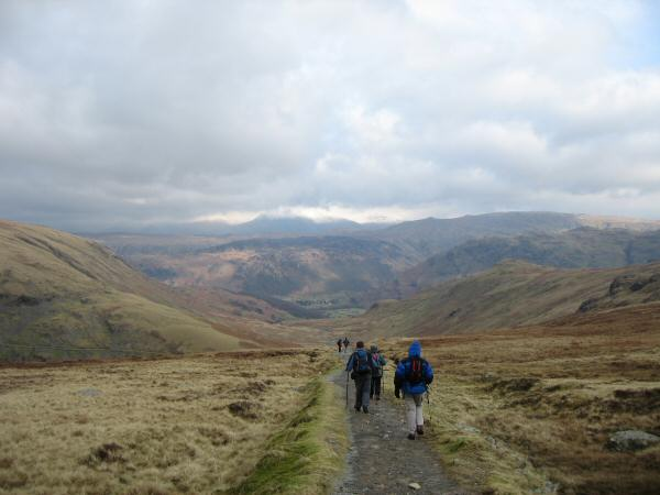 Heading back down the tramway to Honister Pass