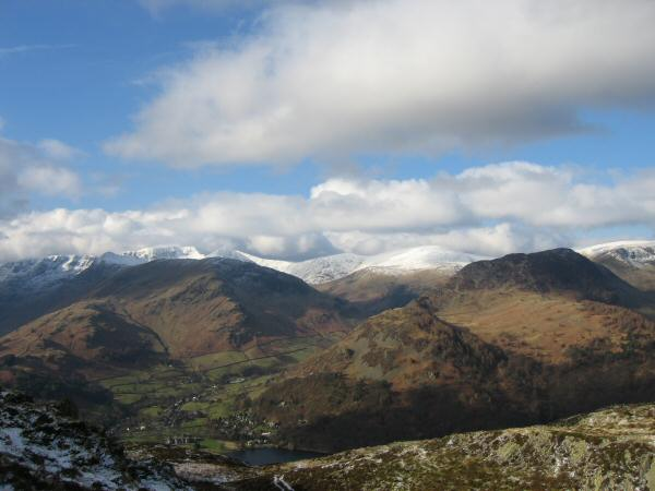 Glenridding with lots of snow on the Helvellyn fells