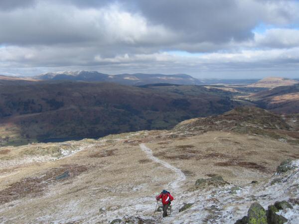 Ascending towards Place Fell's summit. Blencathra on the left skyline