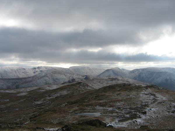 The view south towards High Street from Place Fell's summit