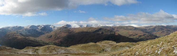 Fairfield, Saint Sunday Crag and the Helvellyn Fells from Angletarn Pikes